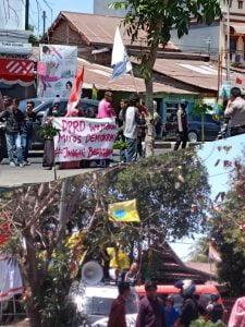 Puluhan kader PMII dan Hipermata sedang menyuarkan aspirasinya, dalam aksi di depan gedung DPRD Kab. Takalar.